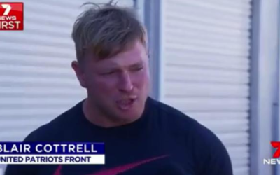 A screenshot of United Patriots Front leader Blair Cottrell being interviewed on Channel Seven News.