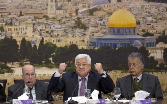 Mahmoud Abbas (centre) delivering his speech on Sunday. Photo: AP Photo/Majdi Mohammed