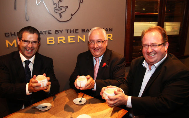 Steven Conroy, Michael Danby and David Feeney showing their solidarity against the BDS with a hot chocolate at Max Brenner's in South Melbourne. Photo: Peter Haskin.