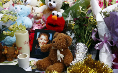 A photo of Thalia Hakin amid floral and soft-toy tributes at the site of last January's Bourke Street tragedy. Photo: Peter Haskin