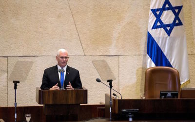 Mike Pence addressing the Knesset on Monday. Photo: Ariel Schalit/AFP/Getty Images