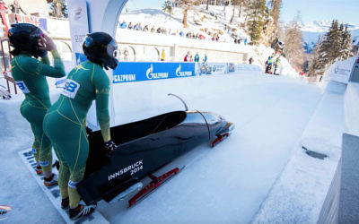 Ashleigh Werner (left) and Australian teammate Bree Walker at the start line at the 2018 Women's Bobsleigh Junior World Championships at St Moritz, France.