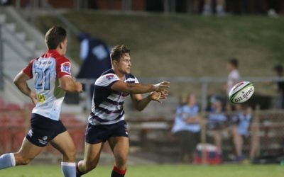David Horwitz playing for the Melbourne Rebels in their recent trial game against his former club, the NSW Waratahs. Photo: Melbourne Rebels