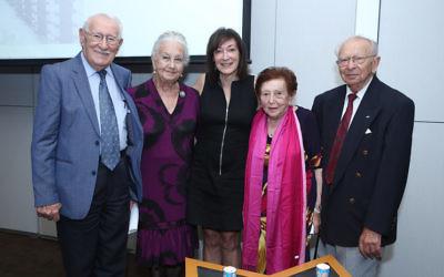 Sydney Jewish Museum operations manager Aviva Wolff (centre) with (from left) Holocaust survivors Eddie Jaku, Olga Horak, Yvonne Engelman and Kuba Enoch. Photo: Giselle Haber