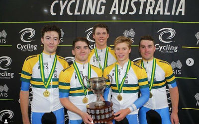 Riley Hart (left) with his Victorian teammates after winning the elite men's team pursuit gold medal at the 2018 Track National Championships on February 1. Photo: John Veage/Cycling Australia