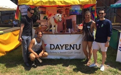 Kim Gotlieb (second from right) with members of Dayenu at the Mardi Gras Fair Day held in February.