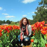 Melissa Morris at the Tesselaar Tulip Festival.