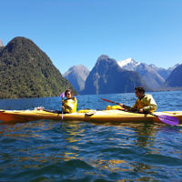 Michelle Kanevsky and Avishai Brown in Milford Sound, New Zealand.