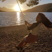 Michelle Kanevsky at sunset in Queenstown, New Zealand.