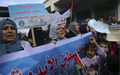 Palestinians in Gaza protest the US aid freeze to UNRWA earlier this month. Photo: AP Photo/Adel Hana