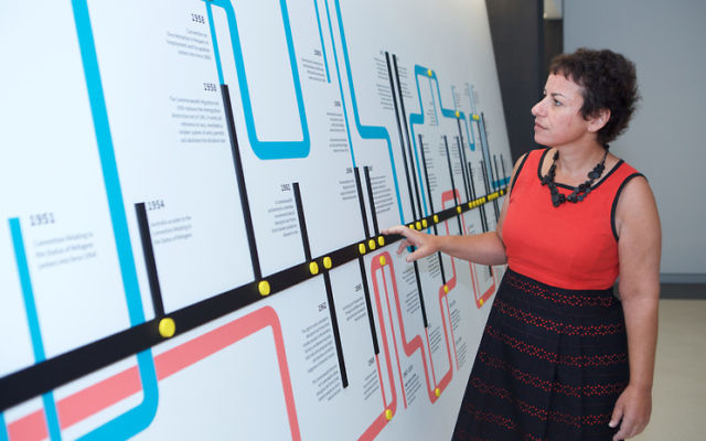 Project director Dr Avril Alba inside the Sydney Jewish Museum's new permanent Holocaust and Human Rights exhibition. Photo: Giselle Haber