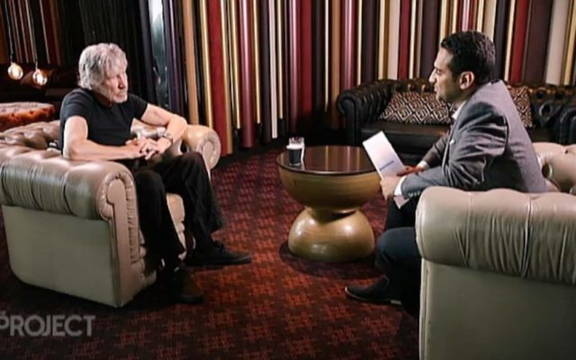 Roger Waters being interviewed by Waleed Aly on The Project. Photo: Screengrab/Channel 10