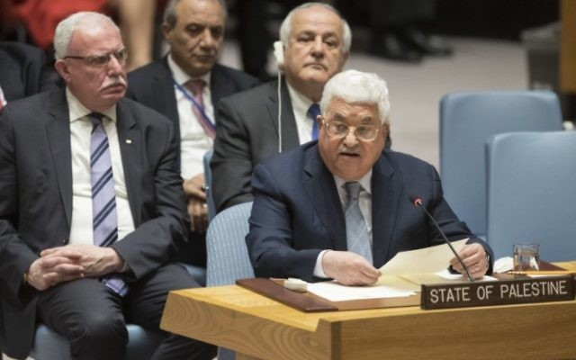 Mahmoud Abbas speaks during a United Nations Security Council meeting on Tuesday. Photo: Drew Angerer/Getty Images