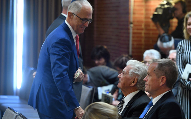 Malcolm Turnbull with Bob Hawke and Bill Shorten at Monday's memorial service for Barry Cohen. Photo: AAP Image/Mick Tsikas