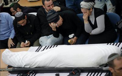 Relatives mourn at the funeral of Itamar Ben Gal. Photo: Jim Hollander, Pool via AP