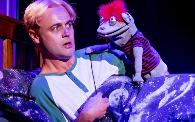 Gyton Grantley as Jason with his puppet Tyrone in Hand To God.  Photo: Angel Leggas