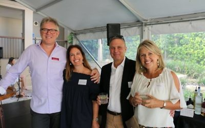 Andrew and Cath Watt (right) with Adam Blackman, president of the school board and his wife Andy Bromberger