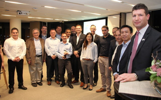 Israel Trade Commissioner in Australia Shai Zarivatch (on right) with representatives of 12 leading Israeli cyber-security companies in Sydney on March 12. Photo: Shane Desiatnik