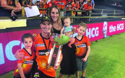 Michael Klinger with his family after the Perth Scorchers won the 2016-17 Big Bash League. Photo: Perth Scorchers