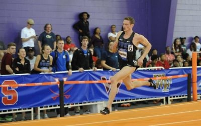 Steven Solomon on his way to breaking an Australian men's 400m indoor record in the heats of the 2018 Atlantic Coast Conference Indoor Track and Field Championships last week. Photo: Cheryl Treworgy Photography