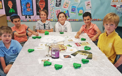 Seder was celebrated during BJE's traditions class at Lane Cove Public School. Pictured from left: Cameron Sternfeld, Ari Levy, Georgia Meisner, Raphaela Levy Mesman, Eitan Levy, Benjamin Conlon.