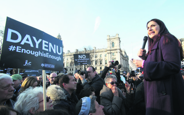 Luciana Berger addresses the demonstration. Photo: Yui Mok/PA Wire