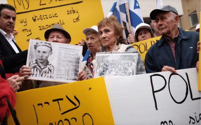 Holocaust survivors in Israel last month protesting outside the Polish embassy. Photo: Tomer Neuberg/Flash90