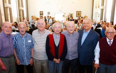 From left: Buchenwald Boys Henry Salter, Szaja Chaskiel, Salek Roth, Emil Koppel, Joe Kaufman, Joe Szwarcberg and Jack Unikoski at the commemoration.