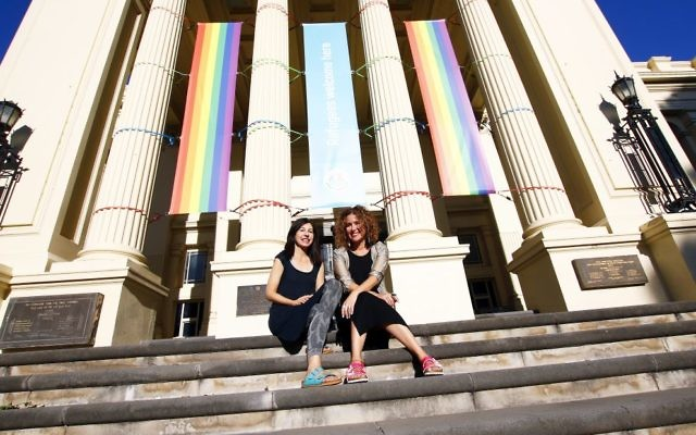 Janine Schloss (left) and Noe Harsel at StKilda Town Hall where the Melbourne Jewish Book Week will be held. Photo: Peter Haskin