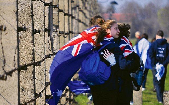 March of the Living participants at Auschwitz. Photo: Emmanuel Santos