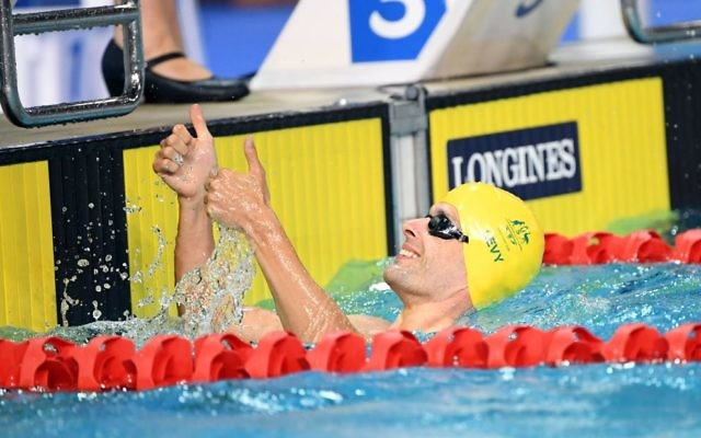 Matthew Levy after winning gold in the men's S7 50m freestyle final at the Commonwealth Games on April 9. Photo: Swimming Australia Ltd/Delly Carr.