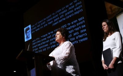 Peta Birnbaum (left) and Rachel Ben-Atar narrating the story of Sariel Birnbaum. Photo: Peter Haskin
