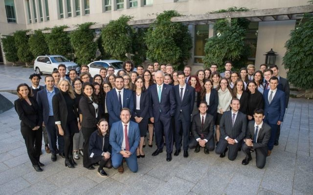 The AUJS Political Training Seminar delegates with Prime Minister Malcolm Turnbull.