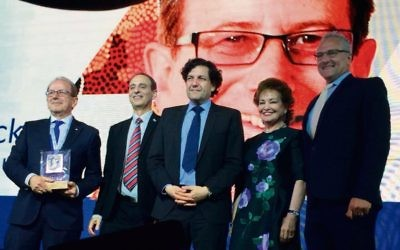 Julian Black (left and on screen) with Eliezer Sandberg, David Koschitzky, Julia Koschitzky and Greg Masel.