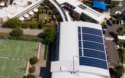 The 344-panel rooftop solar power system installed at Moriah College.