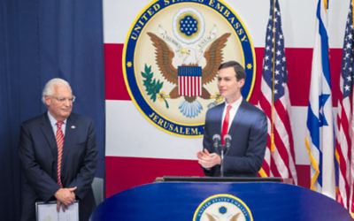 Jared Kushner (right) speaking at the opening ceremony of the US Embassy while US Ambassador to Israel David Friedman looks on. Photo: Yonatan Sindel/Flash90