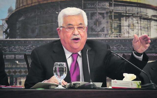 Mahmoud Abbas addressing the Palestinian National Council. Photo: Flash90
