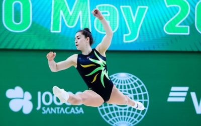 Deborah Greenbaum representing Australia at the 2018 Aerobic Gymnastics World Championships in Portugal.
