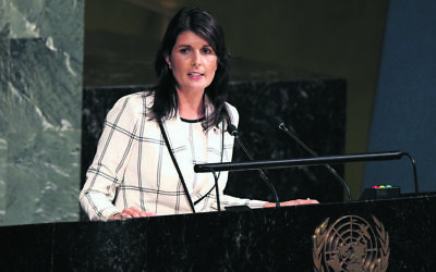 Nikki Haley addressing the UN General Assembly last Wednesday. Photo: UN Photo/Evan Schneider