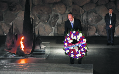 Prince William laying a wreath in the Hall of Remembrance at Yad Vashem. Photo:  EPA/Abir Sultan