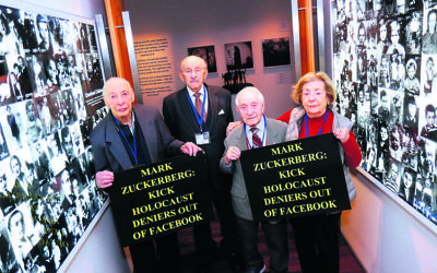 Survivors at the Jewish Holocaust Centre in Melbourne protesting against Facebook. From left: Joseph De Haan, David Prince, Abe Goldberg and Lusia Haberfeld. Photo: Peter Haskin