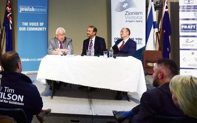 Michael Danby (left) with Zeddy Lawrence at The AJN and Zionism Victoria's 2015 election hustings. Photo: Peter Haskin