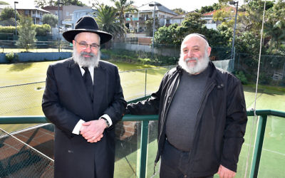 FREE executive director Reuven Morrison (right) with Rabbi Yehoram Ulman at the Wellington Street, Bondi site where the new shule will be built. Photo: Noel Kessel