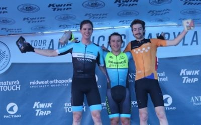 Riley Hart (right) on the podium following his third place finish in the West Bend stage of the 2018 Tour of America's Dairyland on June 25. Photo: Tour of America's Dairyland/Karl Hendriske