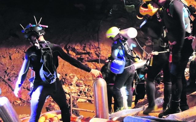 Rescuers inside the cave in Thailand where the boys were trapped. EPA/Royal Thai Navy