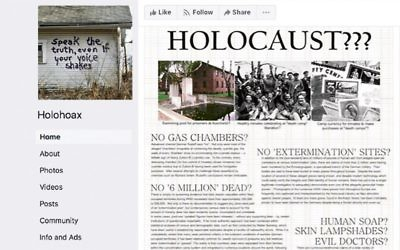 A Holocaust denial post on Facebook.
