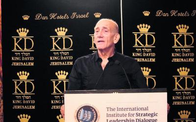 Ehud Olmert addressing the Strategic Leadership Dialogue gala dinner. Photo: Shahar Zarfati