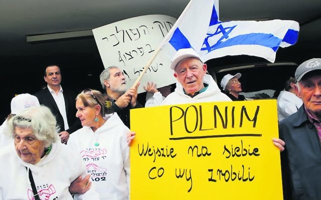 Holocaust survivors protesting in front of the Polish embassy in Tel Aviv in February. Photo: Gil Cohen-Magen/AFP/Getty Images