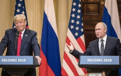 Donald Trump and Vladimir Putin in Helsinki this week. Photo: Chris McGrath/Getty Images