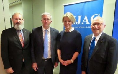 From left: Jeremy Jones, Labor Senators Anthony Chisholm and Kristina Keneally, Colin Rubenstein.